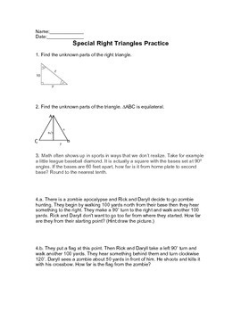 Special Right Triangles & Zombies Worksheet/Warm-up