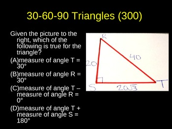Special Right Triangles and Geometry Review Game