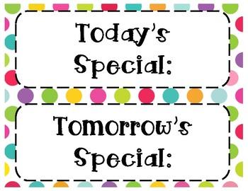Special Area Schedule Cards