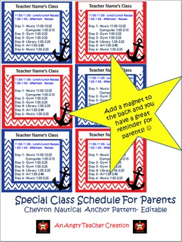 Special Schedule For Parents- Chevron Nautical Anchor Theme (Editable)