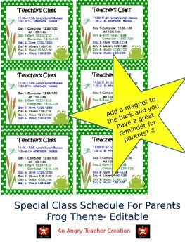 Special Schedule For Parents- Frog Theme (Editable)