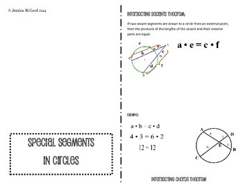 Special Segments in Circles Foldable