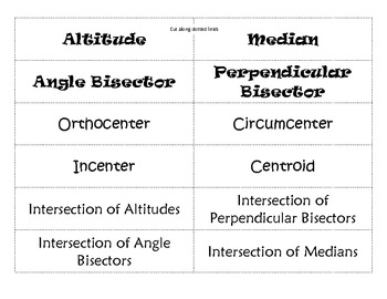 Special Segments in Triangles (Bisectors, Medians & Altitudes) Matching