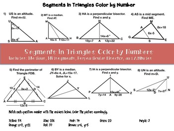 Special Segments in Triangles Color by Numbers