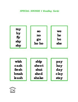 Special Sounds 1 Phonics Reading Cards & list
