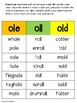 Word Family Sorting Practice: ild/ind/old, ole/oll/old, oll/all