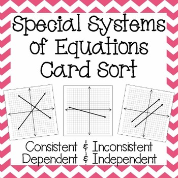 Special Systems of Equations ~ Warm Up, Card Sort, & Homework