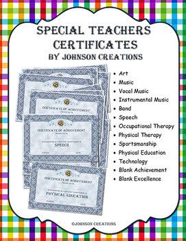 Special Teachers Certificates