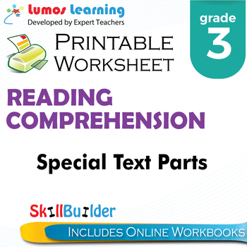 Special Text Parts Printable Worksheet, Grade 3