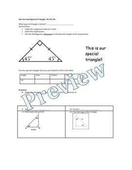 Special Triangles No Prep Lesson