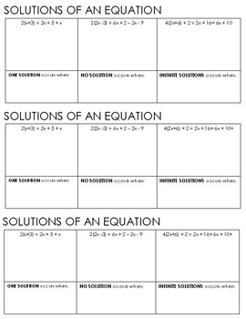 Special Types of Equations Graphic Organizer