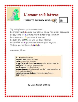 Special Valentines Day Poème Lamour En 5 Lettres With