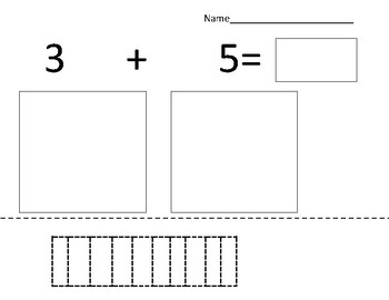 Special education: addition (sum of 6 to 10) with visuals to cut and glue
