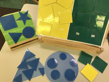 Special education: shape and color matching, sorting, identifying