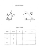 Special triangles review graphic organizer table sin cos tan degrees radians
