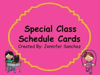 Special/Block Class Schedule Cards
