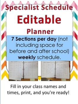 Specialist Planner Editable Template- 7 Sections