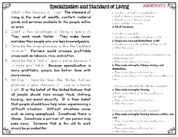 Specialization & Standard of Living Differentiated Leveled Text Reading Passages