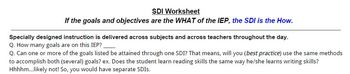 Specially Designed Instruction Worksheet for IEP Writing