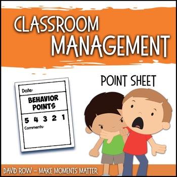 Behavior Point Sheet Classroom Management For Music Art PE Other Specials