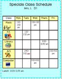 Specials Class Schedule Chart