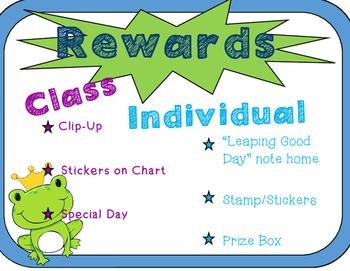 Specials Classroom Rewards and Consequences- Frog Theme