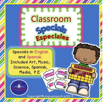 Spanish and English Classroom Specials Schedule