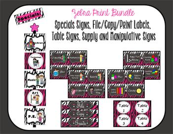 Specials, File/Copy/Print Labels,Table Signs, Supply/Manipulatives Bundle Zebra