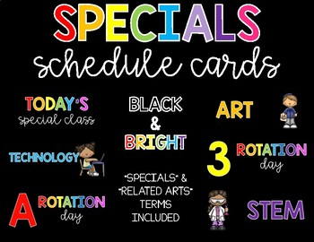 Specials/Related Arts Schedule Cards-Black and Bright