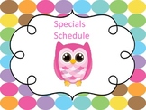Specials Schedule