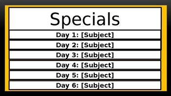 Specials Schedule - Bee Theme Colors (Black & Gold)