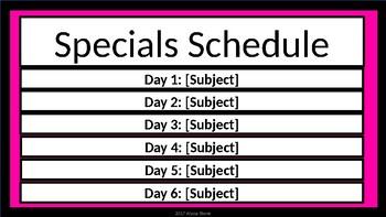 Specials Schedule - Black & Pink
