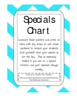 Specials Schedule Display Chart Monday to Friday