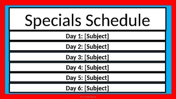 Specials Schedule - Dr. Seuss Tribute Colors - 2 Styles