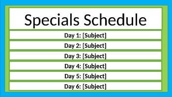 Specials Schedule - Lime & Teal