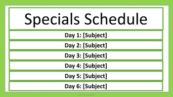 Specials Schedule - Lime & White Mini-Polka Dots