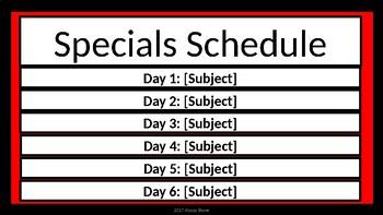 Specials Schedule - Red & Black