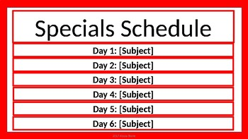 Specials Schedule - Red & White