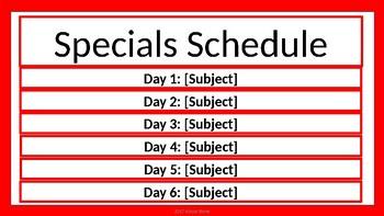 Specials Schedule - Red & White