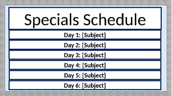 Specials Schedule - Turquoise & Gray