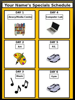 Specials Schedule - With Clipart - Bee Theme Colors (Black & Gold)