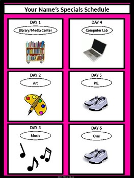 Specials Schedule - With Clipart - Black & Pink