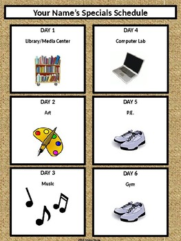 Specials Schedule - With Clipart - Burlap