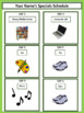 Specials Schedule - With Clipart - Lime & White Mini-Polka Dots