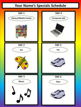 Specials Schedule - With Clipart - Noah's Rainbow