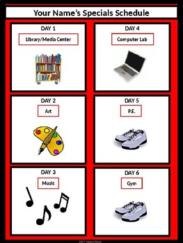 Specials Schedule - With Clipart - Red & Black