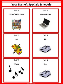 Specials Schedule - With Clipart - Red & White
