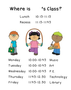 Specials Schedule for Classroom Door (plus Do Not Disturb sign!)