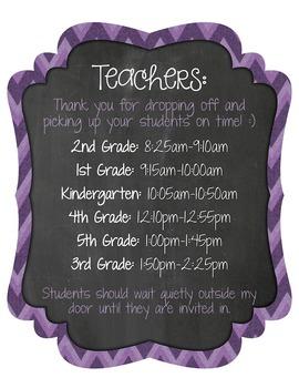 Specials Teacher Class Times Sign (Freebie)