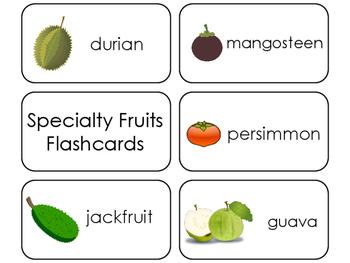 Specialty Fruit Printable Flashcards. Preschool- Kindergarten Math.